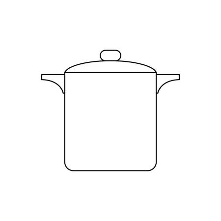 cooking pot icon over white background vector illustration