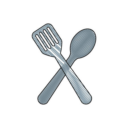 spoon and spatula icon over white background vector illustration Illustration