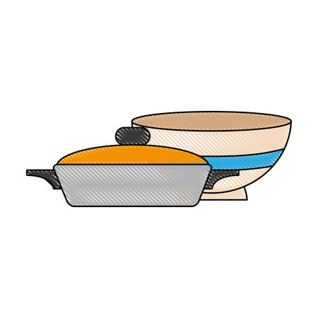 pan and bowl icon over white background vector illustration Illustration