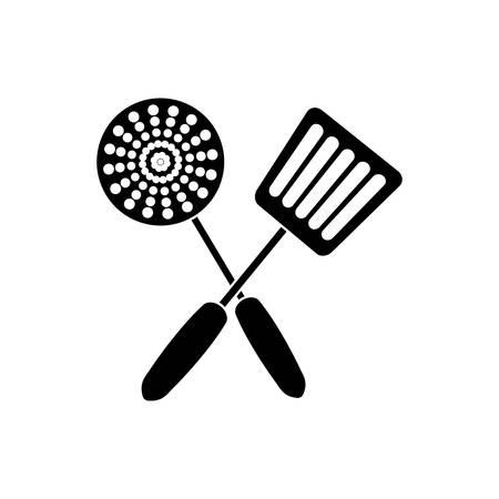 skimmer and spatula icon over white background vector illustration Illustration