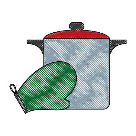 cooking pot and kitchen glove icon over white background vector illustration