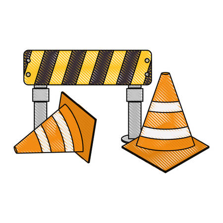 warning barrier and traffic cones icon over white background vector illustration