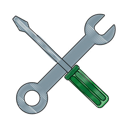 screwdriver and spanner icon over white background vector illustration