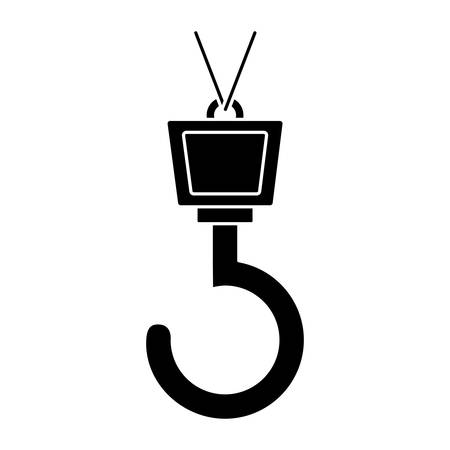private security: crane hook icon over white background vector illustration Illustration