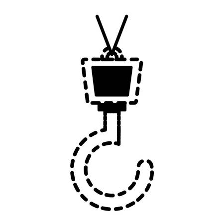private security: Crane hook icon over white background vector illustration