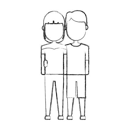 romantic date: Happy couple of woman and man icon. Illustration