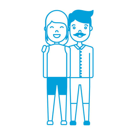 romantic date: Happy couple of woman and man icon over white background vector illustration