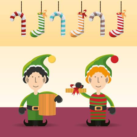 Elf van Merry Christmas-thema van het seizoen.