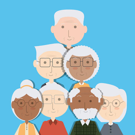 Grandparents cartoon of family and senior theme illustration.