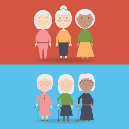 Grandmother cartoon of family and senior theme  illustration. Illustration