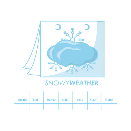 Cloud and snowflakes of weather calendar and climate theme Vector illustration Çizim