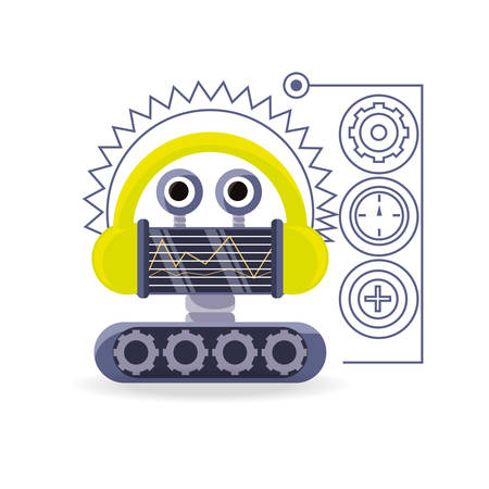 gears: Robot cartoon of robotic technology and futuristic theme Vector illustration