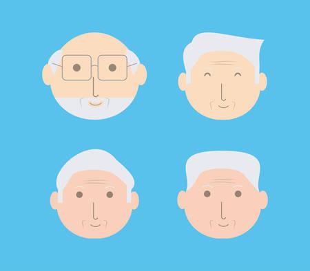 Grandfather cartoon faces of family and senior theme illustration.