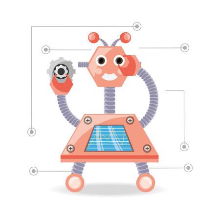 cybernetics: Robot cartoon of robotic technology and futuristic theme Vector illustration