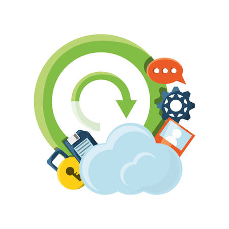 Cloud service of storage technology data and media theme Vector illustration