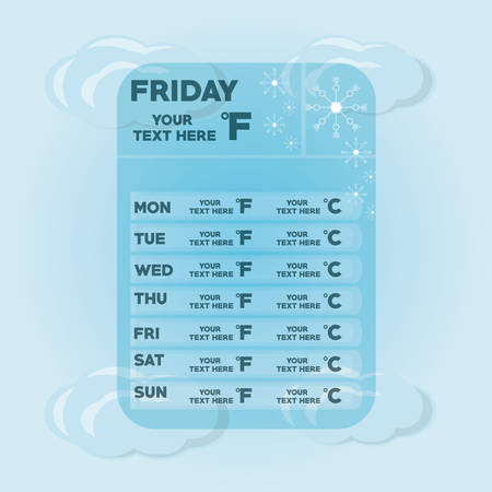 weekly: Cloud and snowflakes of weather calendar and climate theme