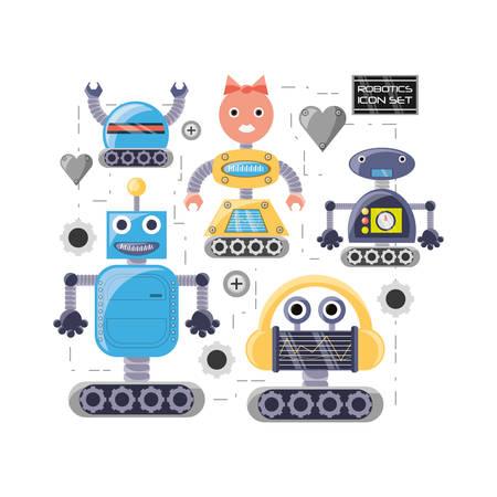 Group of robot cartoon of robotic technology and futuristic theme Vector illustration Illustration