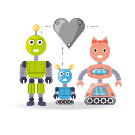 cybernetics: Family robot cartoon of robotic technology and futuristic theme Vector illustration Illustration