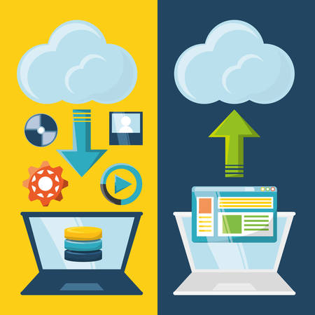 mobile device: Cloud service of storage technology data and media theme Vector illustration