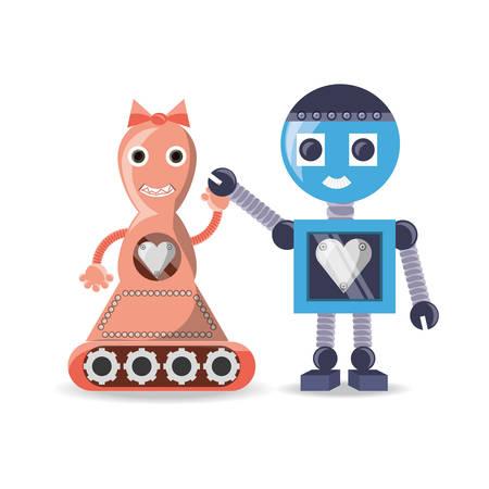 cybernetics: Couple Robot cartoon of robotic technology and futuristic theme Vector illustration