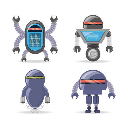 cybernetics: Group of robot cartoon of robotic technology and futuristic theme Vector illustration Stock Photo