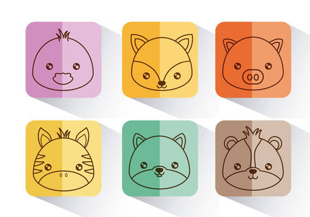 cute animals icons over colorful squares and white background vector illustration