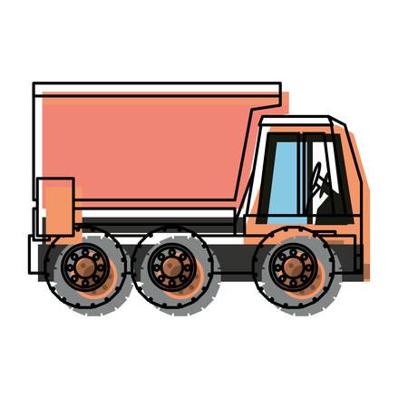 Dump truck icon over white background vector illustration