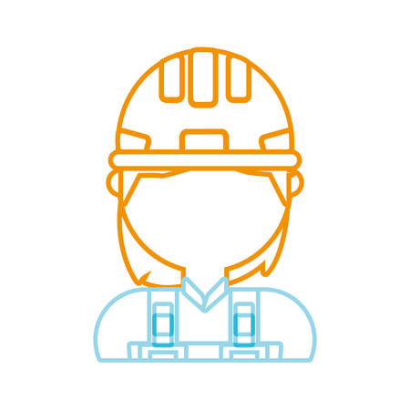 private security: woman with safety helmet icon over white background colorful design vector illustration