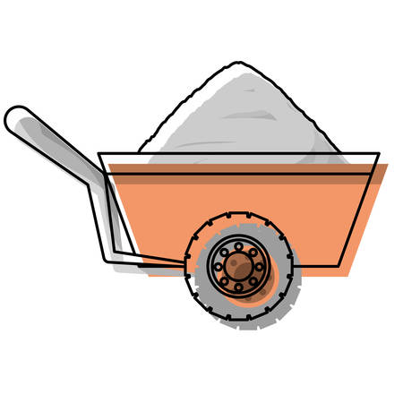 Clip art illustration of construction wheelbarrow icon.