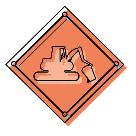 private security: Construction warning sign with backhoe icon. Illustration