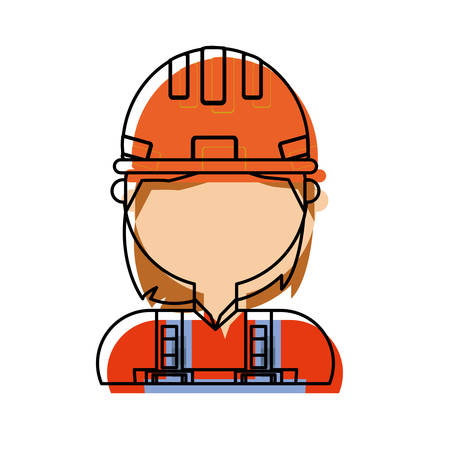 woman with safety helmet icon over white background colorful design vector illustration