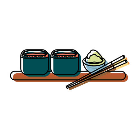 Colorful sushi over white  background  vector illustration. Illustration