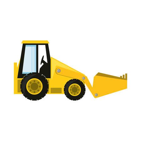 skid: colorful  skid steer loader over white background vector illustration