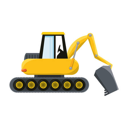 Colorful excavator over white  background vector illustration. Illustration