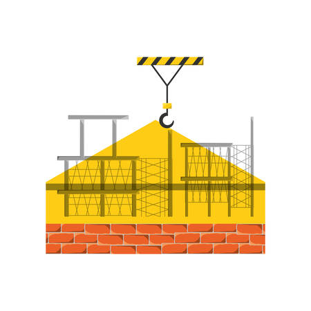 Colorful scaffold and  bricks  over white background vector illustration.