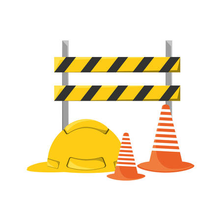 Colorful  road  barrier  whit helmet  and  traffic cone  construction over white  background  vector illustration.