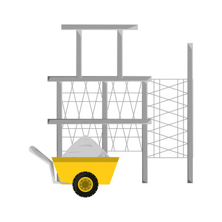 colorful scaffold  and  wheelbarrow over white   background vector illustration Illustration