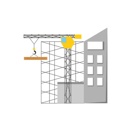 Colorful scaffold and  tower  crane over white   background vector illustration.
