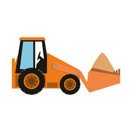 skid: Colorful  skid steer loader over white background vector illustration.