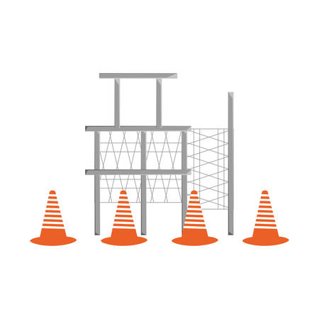 Colorful scaffold  and  traffic cone over white   background vector illustration.