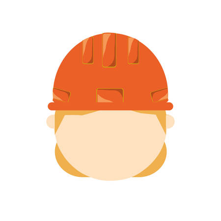 construction project: Colorful man construction worker head illustration.