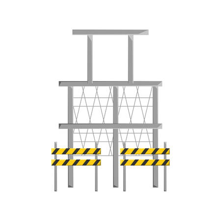 Colorful scaffold and  traffic barrier  over white   background vector illustration.