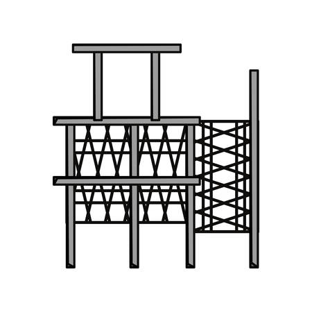 construction project: Flat line colored  scaffold  over  white  background  vector illustration.