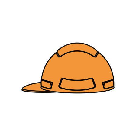 sports equipment: flat line  colored helmet  over white  background  vector illustration Illustration