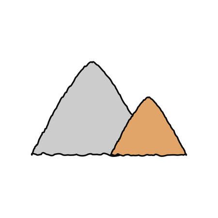 mine site: flat line  colored construction sand  over white  background  vector  illustration