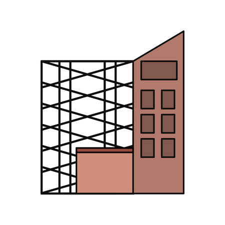 flat line colored  scaffold  and  building over  white  background  vector illustration Illustration