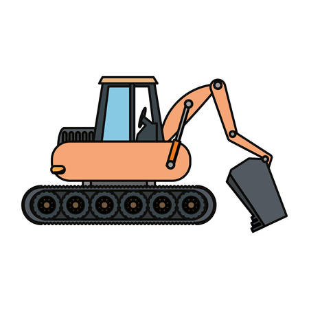 mine site: Cartoon illustration of colored excavator over white background.