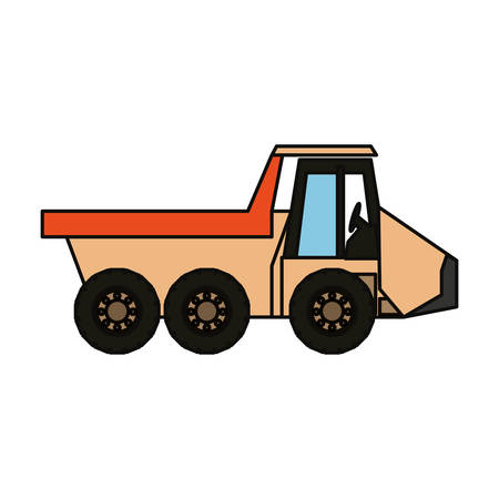 car isolated: Cartoon illustration of  colored dump truck  over  white background.