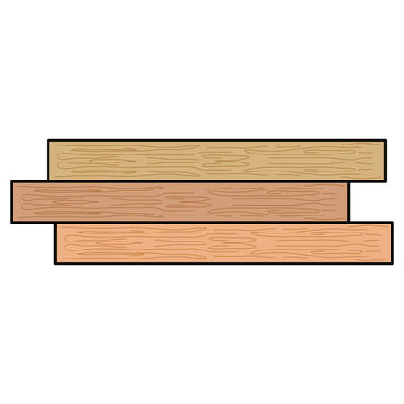 白い背景の上に色付きの木製の梁の漫画のイラスト。  イラスト・ベクター素材