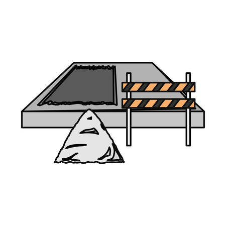Flat line colored traffic barrier and  construction sand illustration.